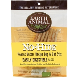 Earth Animal No-Hide Peanut Butter Stix Chew Dog Treat, 10-pack