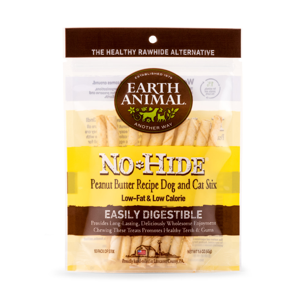 Earth Animal No-Hide Peanut Butter Stix Chew Dog Treat, 10-pack