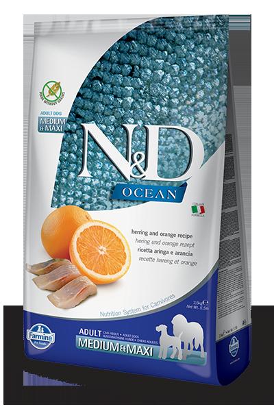 Farmina N&D Ocean Herring & Orange Adult Medium & Maxi Dry Food For Dogs, 5.5-lb
