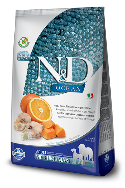 Farmina N&D Ocean Cod, Pumpkin & Orange Adult Medium & Maxi Dry Food For Dogs, 26.4-lb