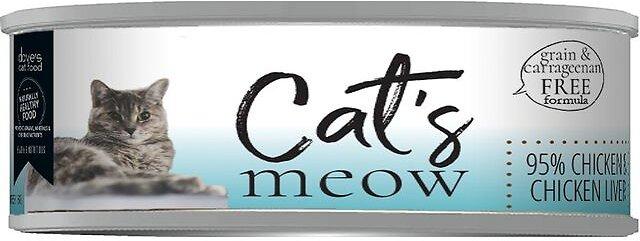 Dave's Cat Food Cat's Meow 95% Chicken & Chicken Liver Wet Cat, 5.5-oz