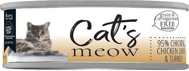 Dave's Cat Food Cat's Meow 95% Chicken, Chicken Liver & Turkey Wet Cat Food, 5.5-oz