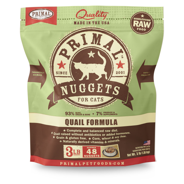 Primal Quail Formula Nuggets Grain-Free Raw Frozen Cat Food, 3lb