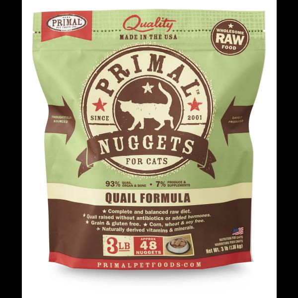 Primal Raw Frozen Nuggets Quail Formula Cat Food, 3lb