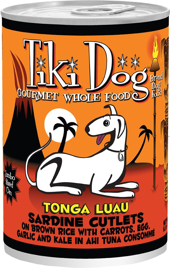 Tiki Dog Tonga Luau Sardine Cutlets Canned Dog Food, 14-oz