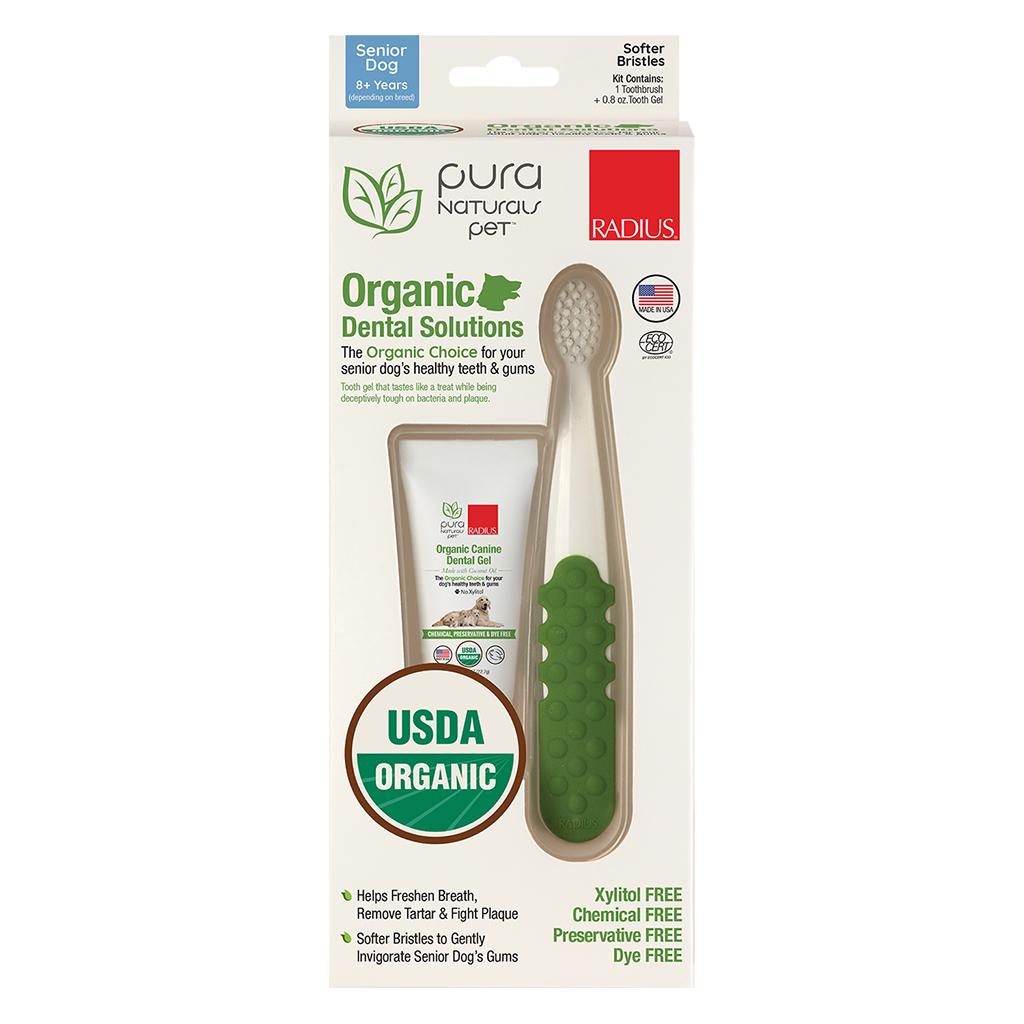Pura Naturals Pet Brush And Gel Senior Dog Dental Kit