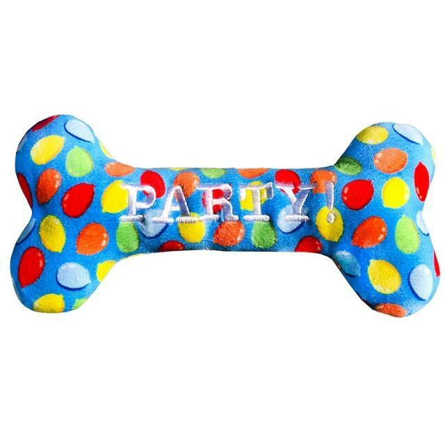 Lulubelles Power Plush Blue Party Time Bone Dog Toy, Large