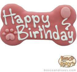 Bosco & Roxy's - Pink Birthday Collection Happy Birthday Bone, 6-inch