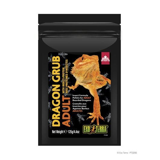 Exo Terra Dragon Grub Insect Formula Pellets for Adult Bearded Dragons, 4.4-oz