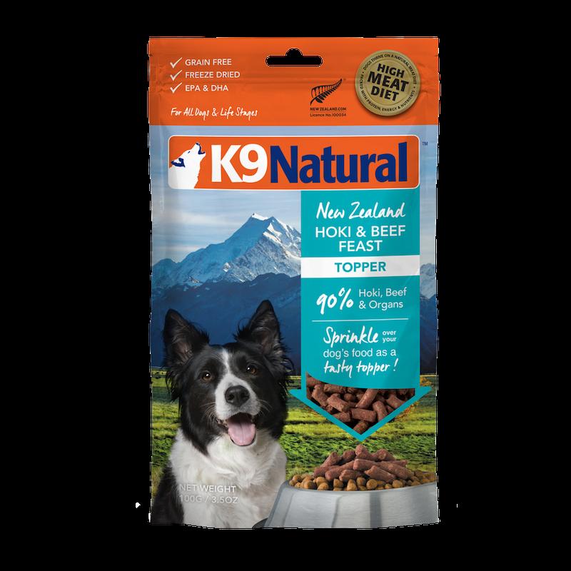K9 Natural Hoki & Beef Feast Grain-Free Freeze-Dried Dog Food Topper, 3.5-oz