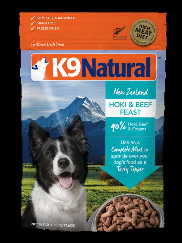 K9 Natural Hoki & Beef Feast Grain-Free Freeze-Dried Dog Food, 4-lb