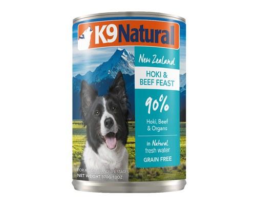 K9 Natural Hoki & Beef Feast Grain-Free Wet Dog Food, 13-oz can