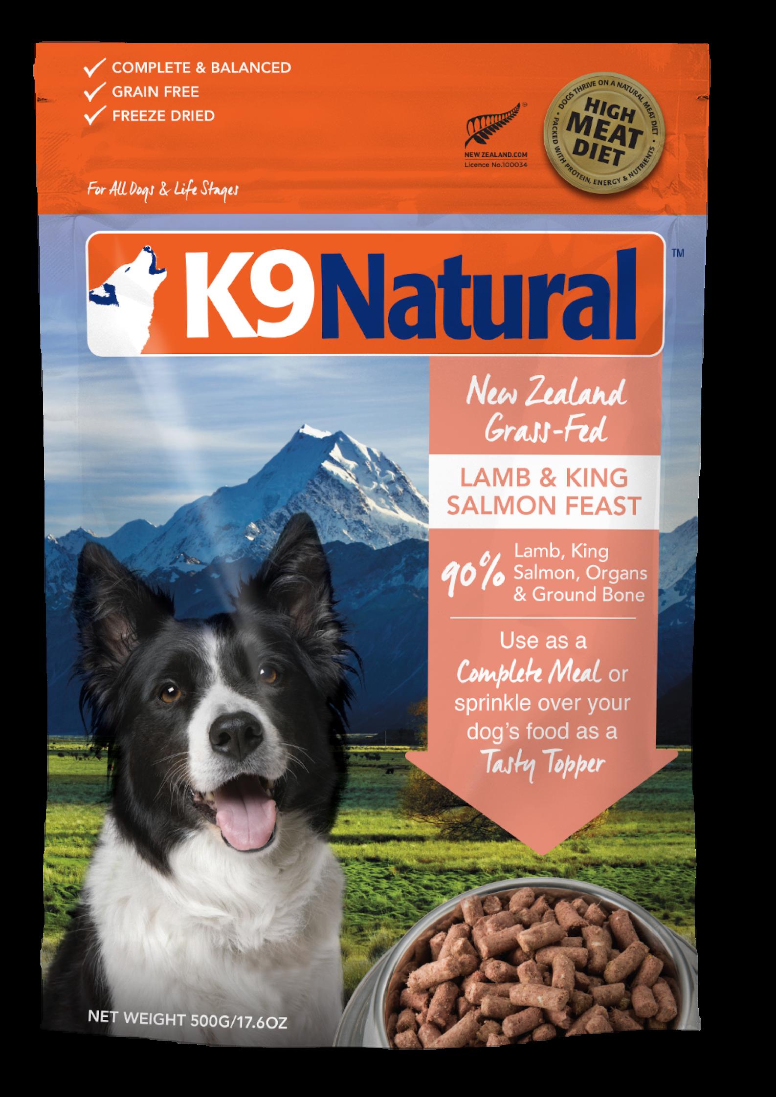 K9 Natural Lamb & Salmon Feast Grain-Free Freeze-Dried Dog Food, 1.1-lb