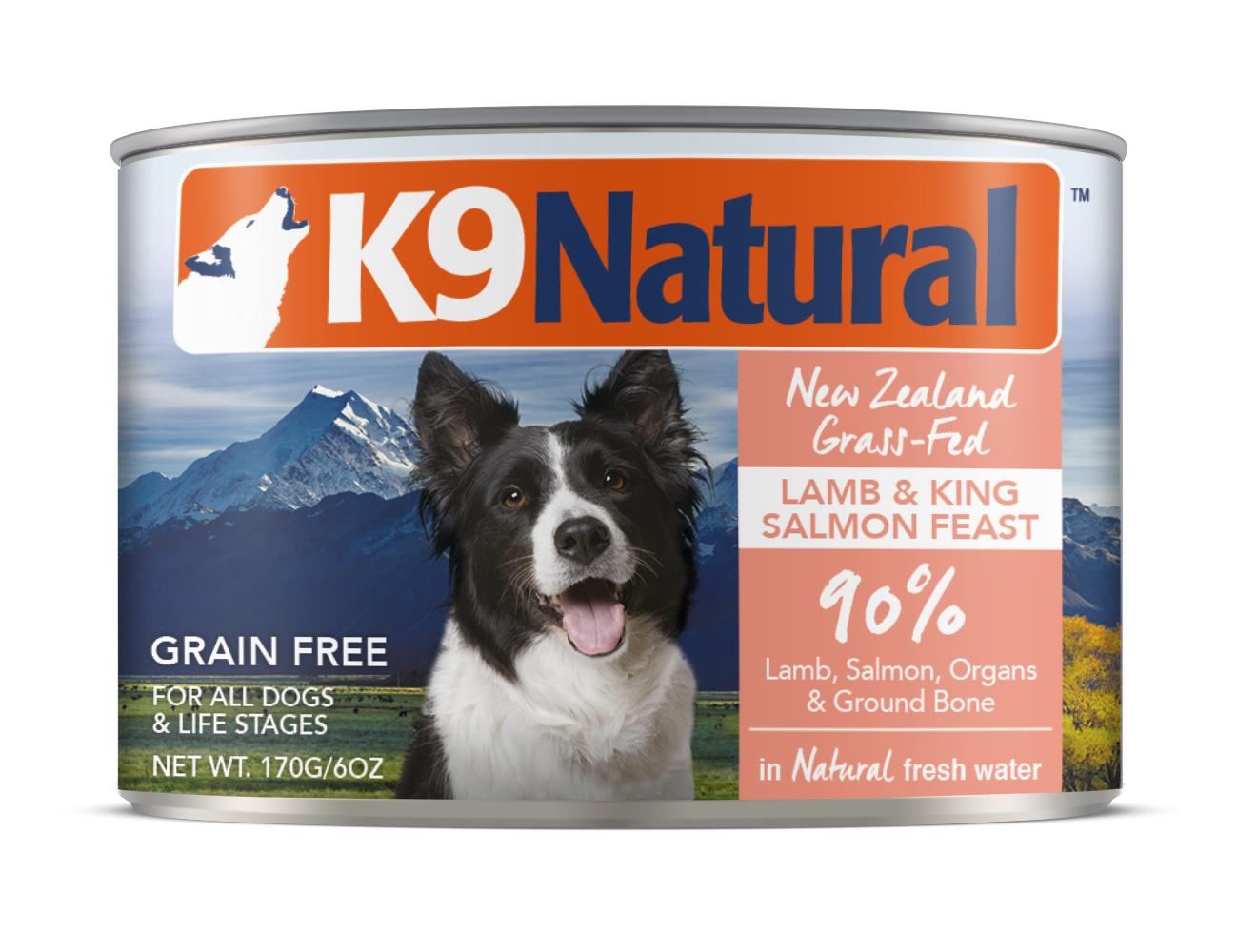 K9 Natural Lamb & Salmon Feast Grain-Free Wet Dog Food, 6-oz can