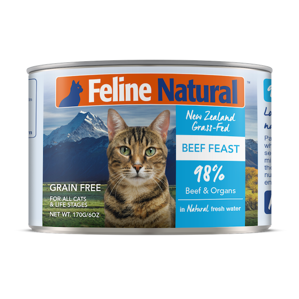 Feline Natural Beef Feast Grain-Free Wet Cat Food, 6-oz can, case of 24