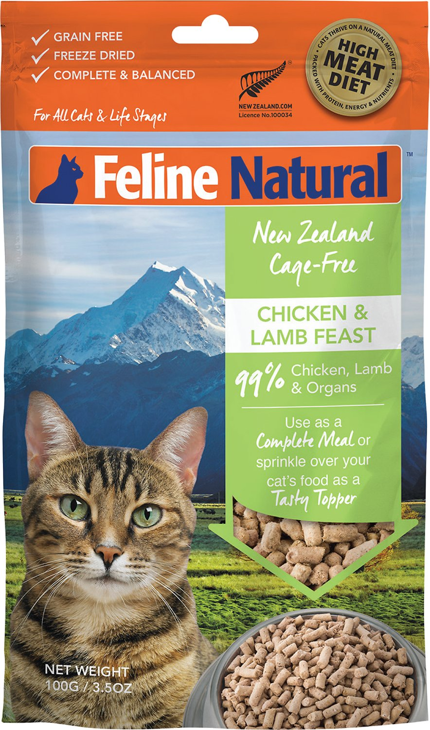 Feline Natural Chicken & Lamb Feast Grain-Free Freeze-Dried Cat Food & Topper, 3.5-oz