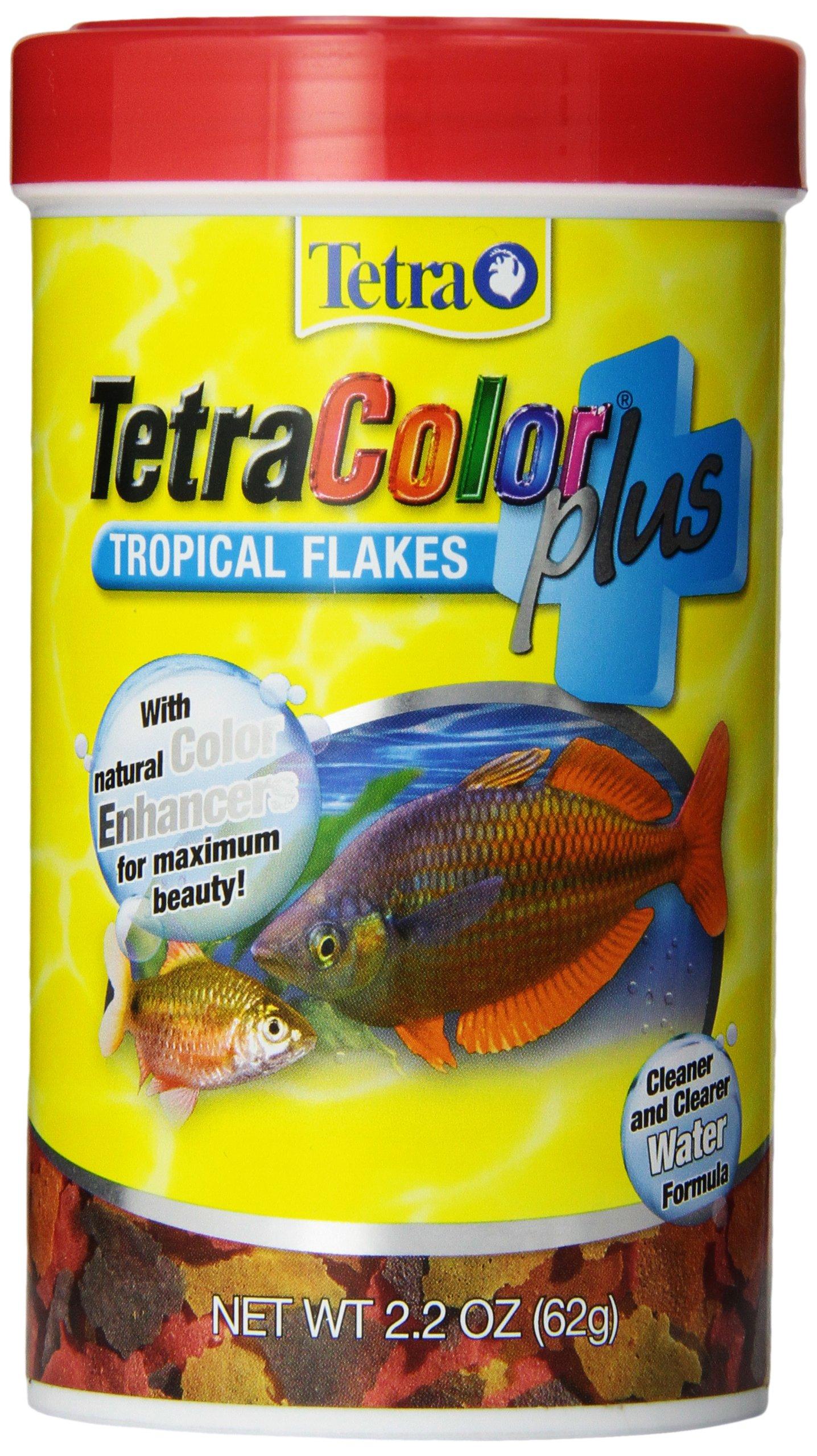 Tetra Color Plus Tropical Flakes Fish Food, 2.2-oz