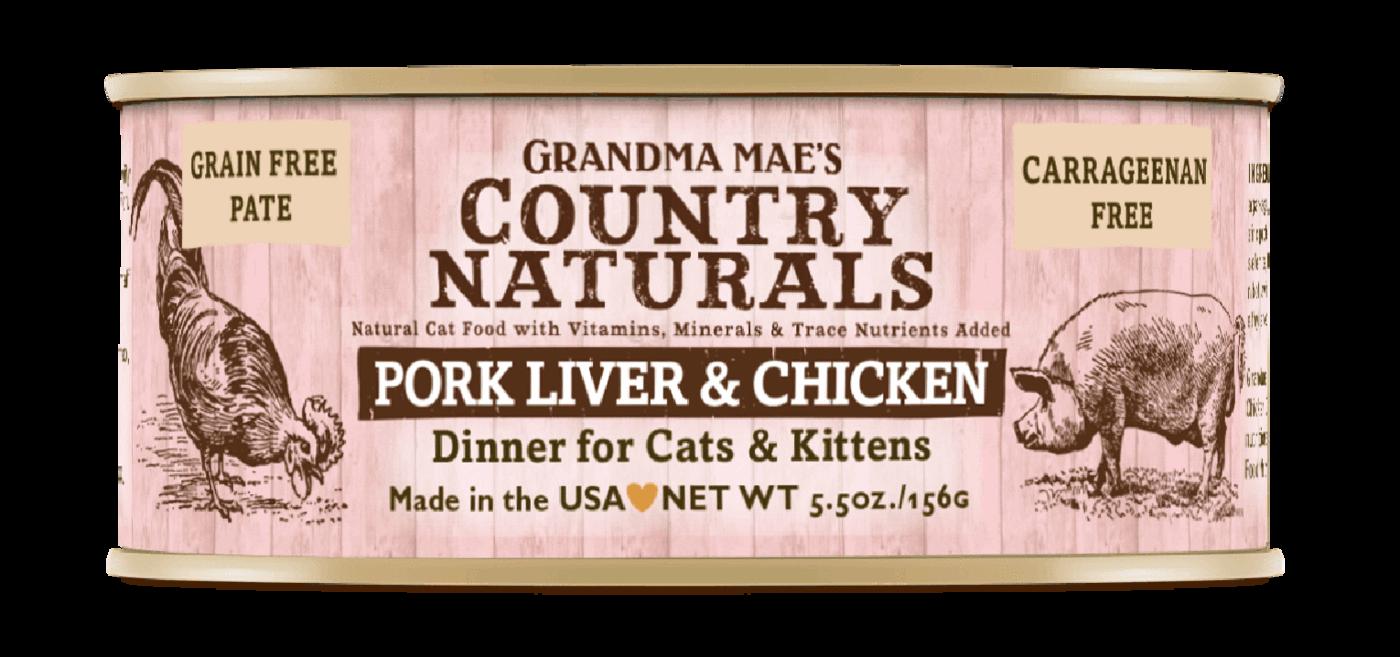 Grandma Mae's Country Naturals Grain-Free Pork Liver & Chicken Dinner Wet Cat Food, 5.5-oz