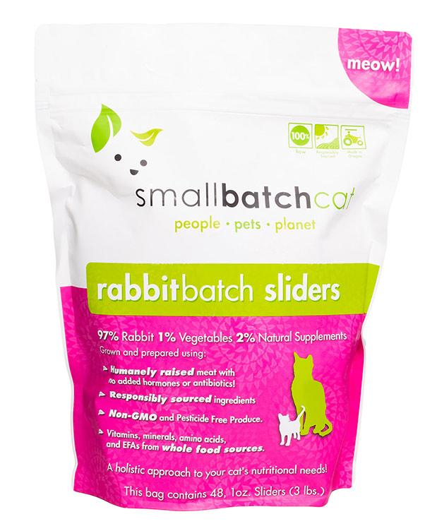 Small Batch Cat Rabbit Batch 1-oz Sliders Raw Frozen Cat Food, 3-lb