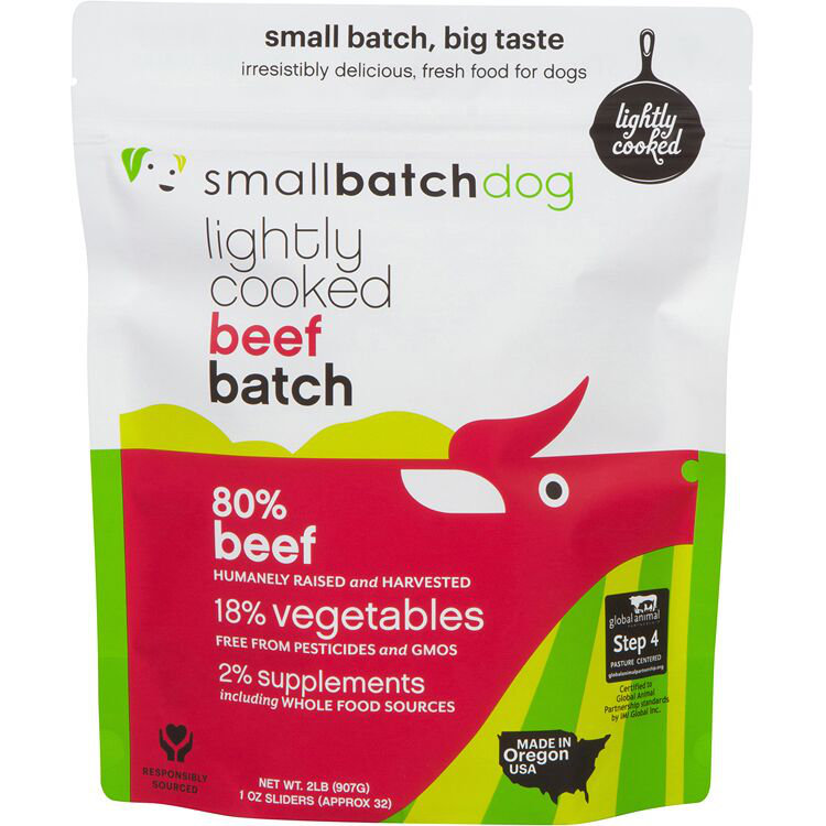Small Batch Dog Lightly Cooked Beef Batch Frozen Dog Food, 2-lb