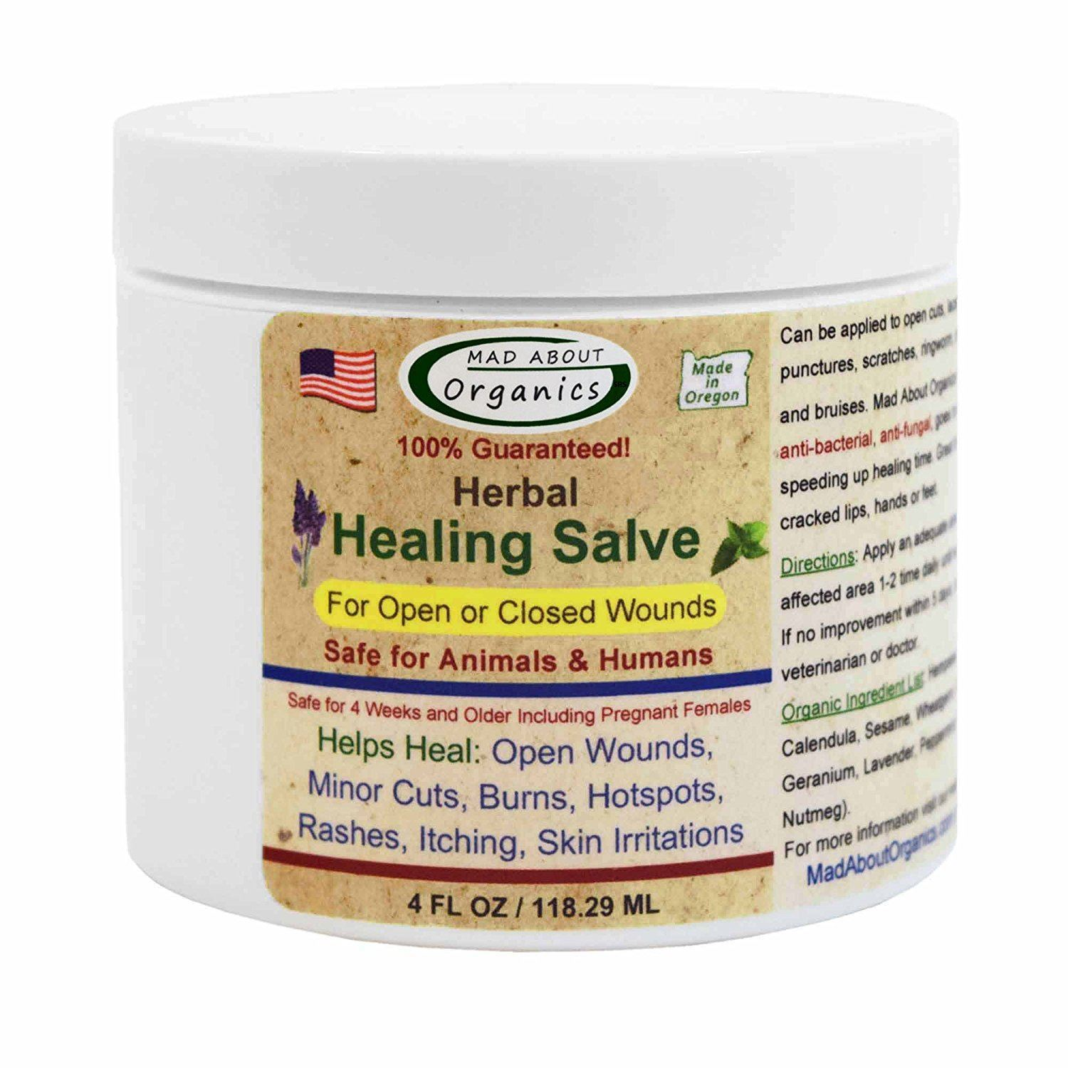 Mad About Organics All Natural Herbal Skin Wound Healing Salve for All Pets, 4oz