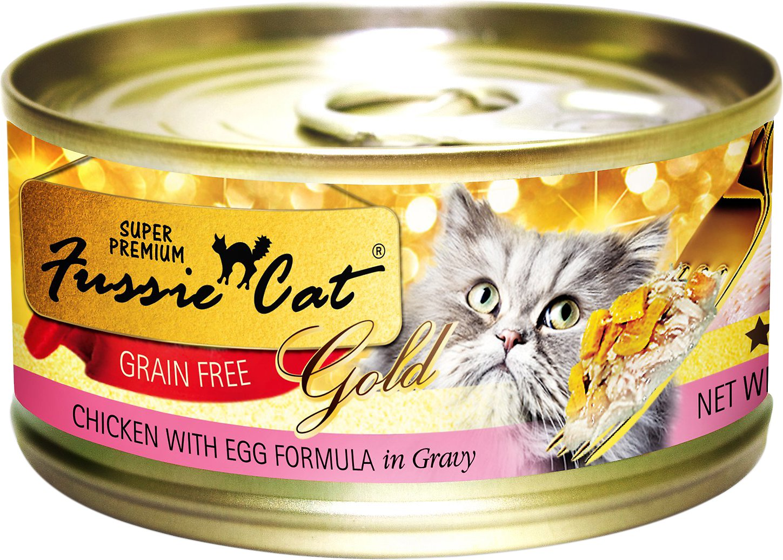 Fussie Cat Super Premium Chicken with Egg Formula in Gravy Grain-Free Canned Cat Food, 2.28-oz
