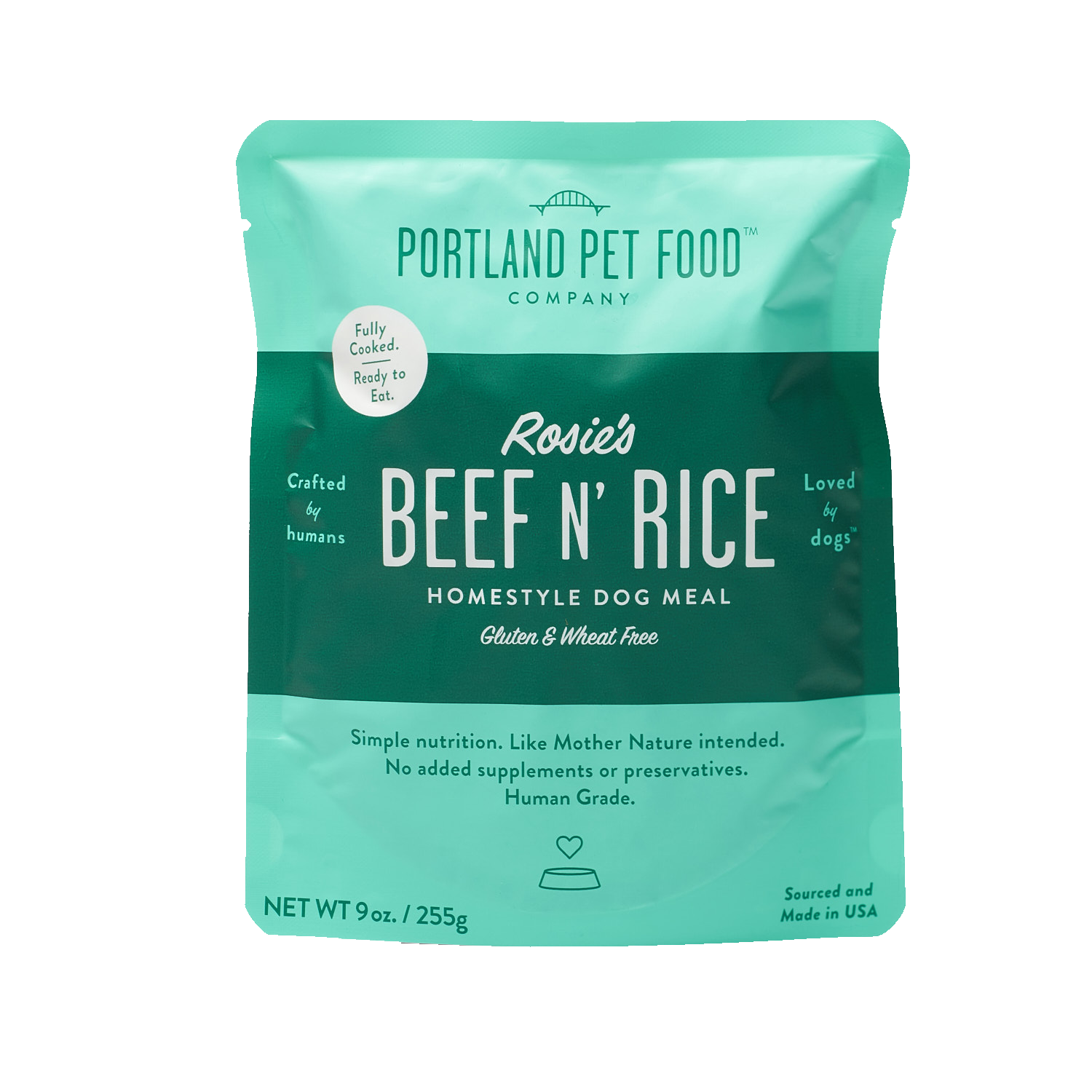 Portland Pet Food Rosie's Beef N Rice Ready to Eat Pouch Dog Meal, 9-oz (Size: 9-oz) Image