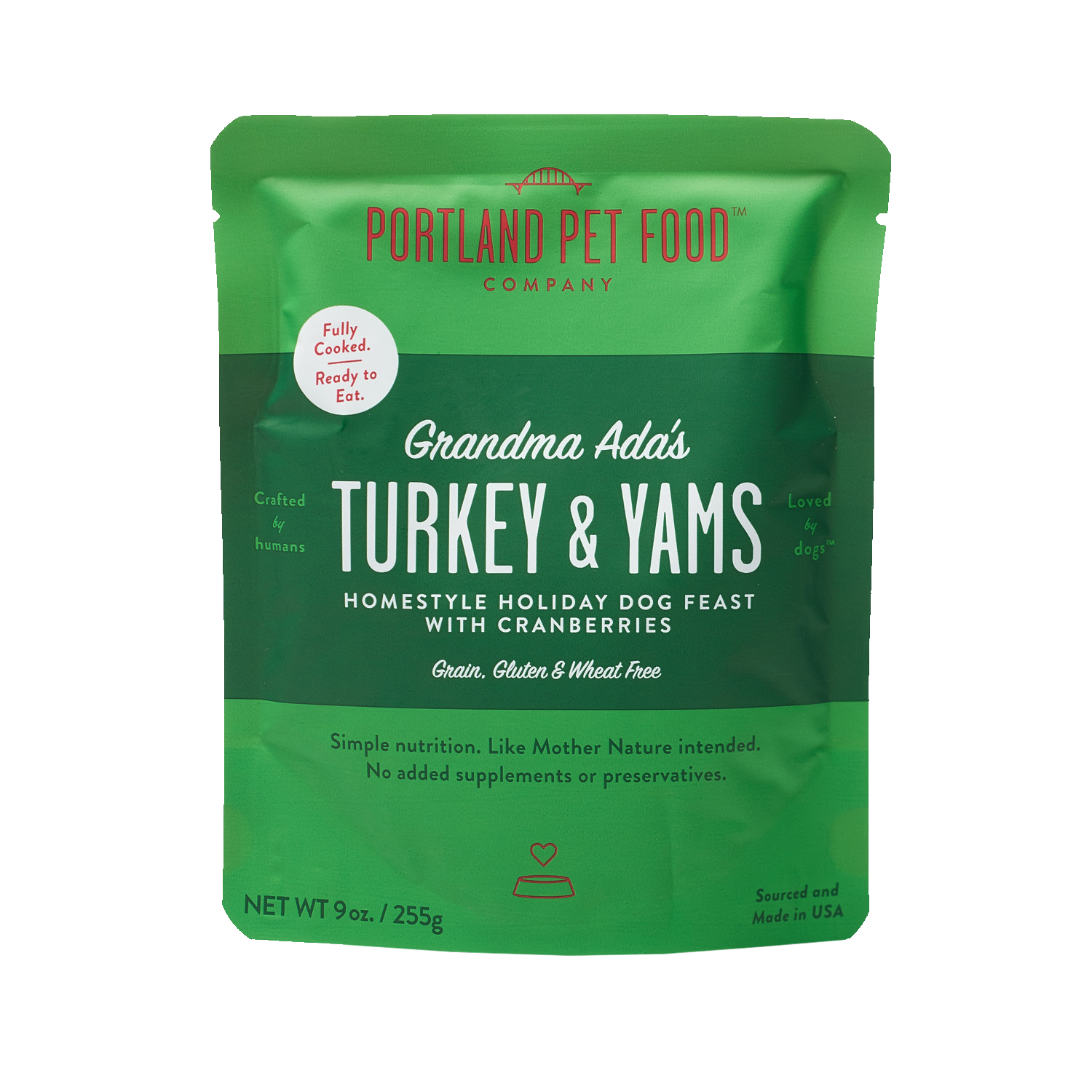 Portland Pet Food Grandma Ada's Grain Free Turkey & Yams Dog Meal, 9-oz (Size: 9-oz) Image