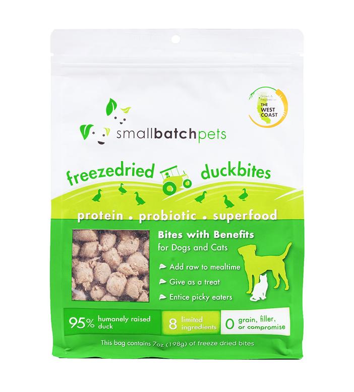 Small Batch Freeze-Dried Small Duck Bites Dog Treats, 7-oz