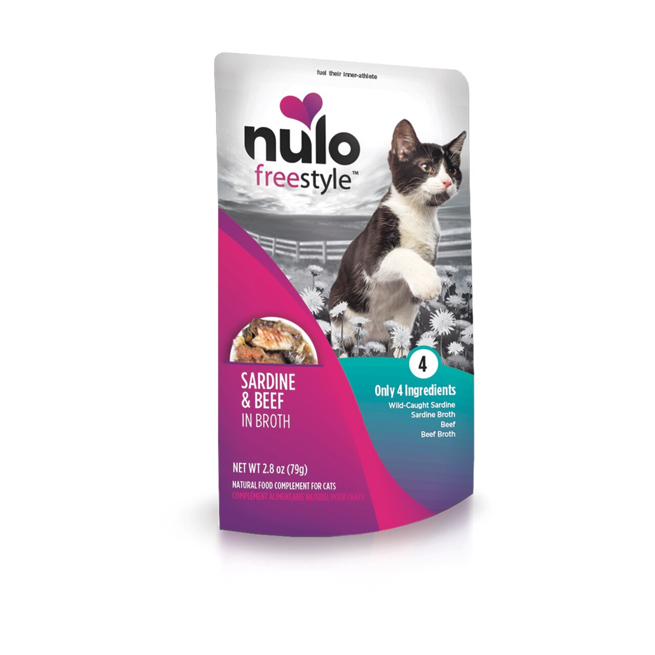 Nulo Cat Freestyle Pouch Sardine & Beef in Broth Cat Food Topper, 2.8-oz