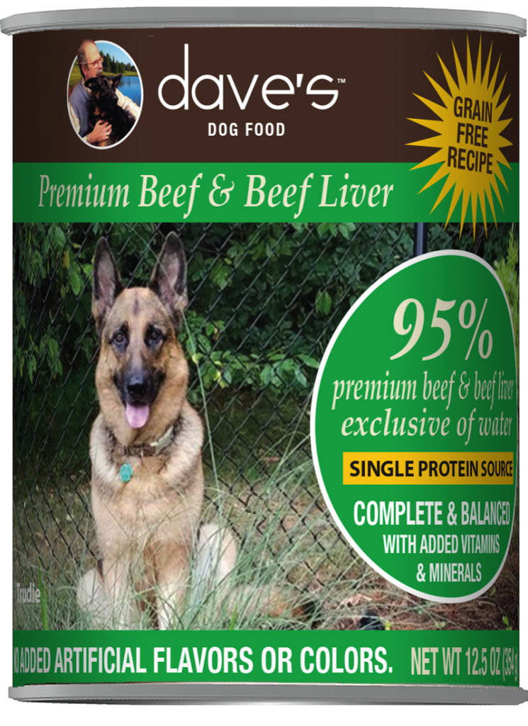Dave's Dog Food 95% Premium Beef & Beef Liver Grain-Free Wet Dog Food, 12.5-oz can