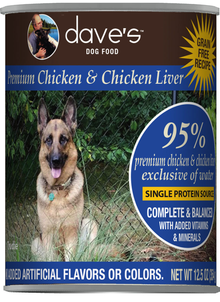 Dave's Dog Food 95% Premium Chicken and Chicken Liver Grain-Free Wet Dog Food, 12.5-oz can