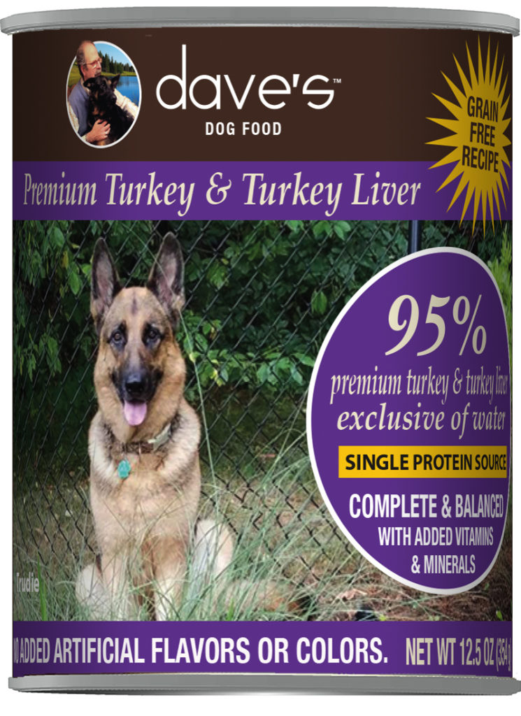 Dave's Dog Food 95% Premium Turkey & Turkey Liver Grain-Free Wet Dog Food, 12.5-oz can