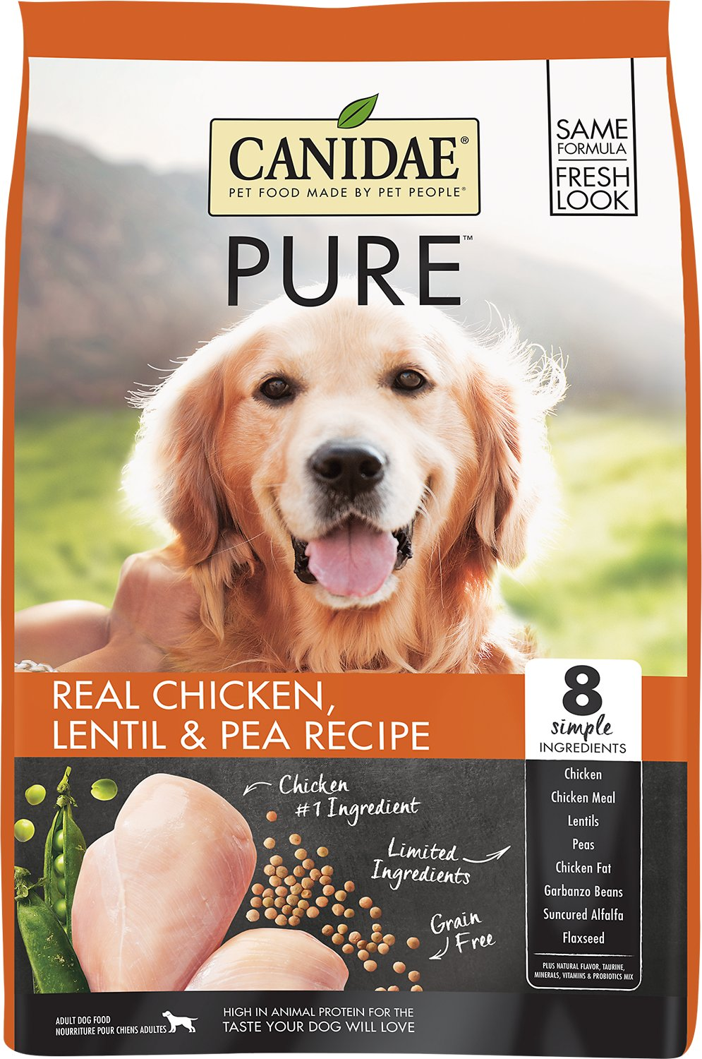 Canidae Grain-Free PURE Real Chicken, Lentil & Pea Recipe Dry Dog Food, 4-lb