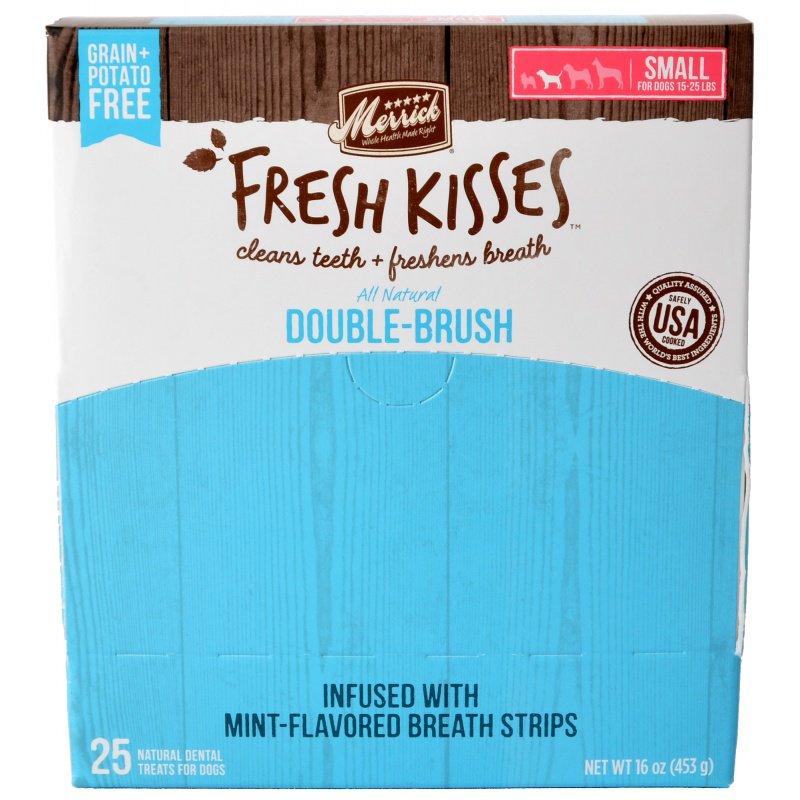 Merrick Fresh Kisses Double-Brush Mint Breath Strips Small Grain-Free Dental Dog Treats, 1-count