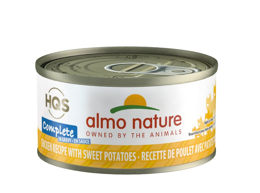 Almo Nature HQS Complete Chicken with Sweet Potatoes Grain-Free Canned Cat Food, 2.4-oz
