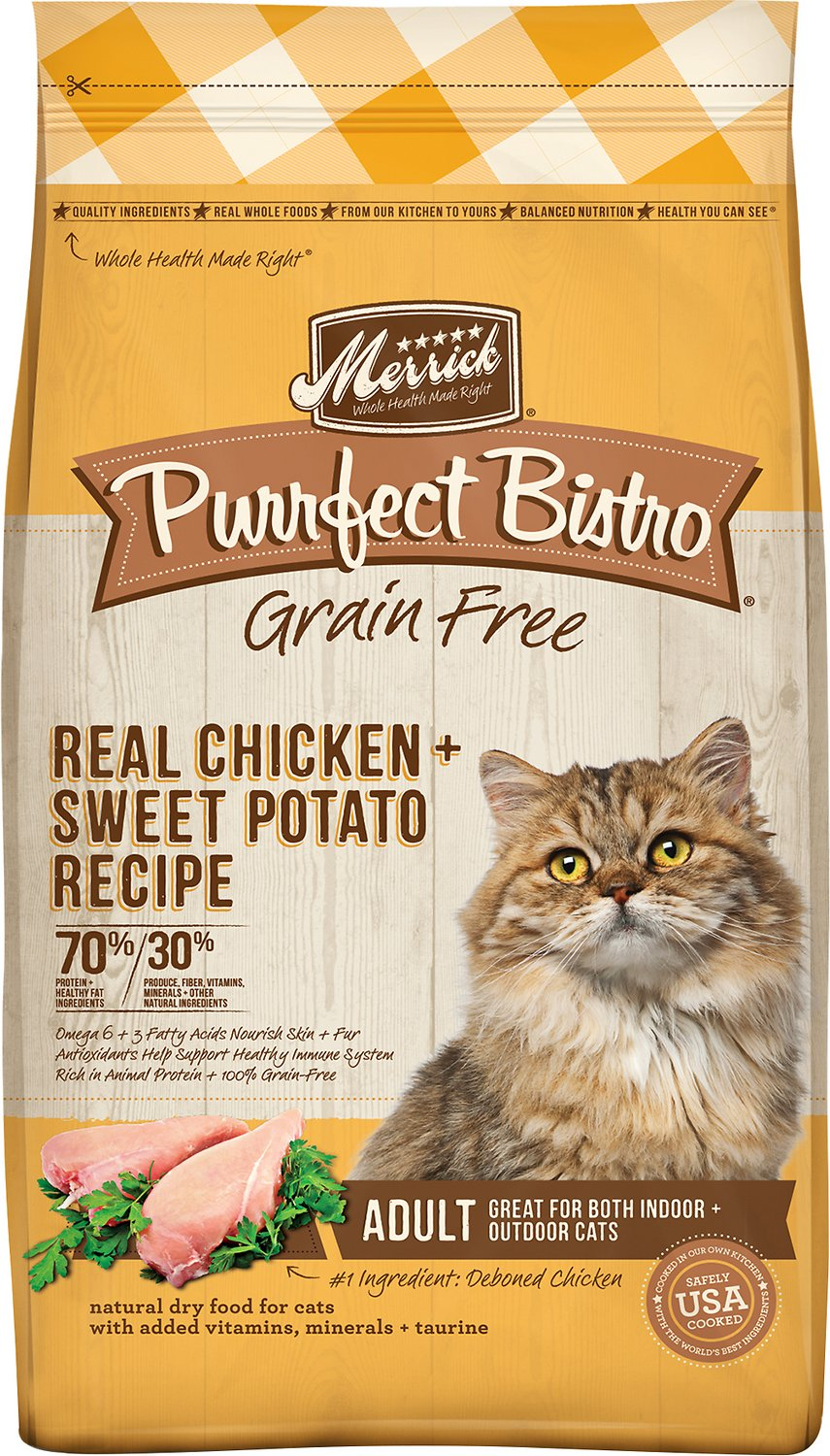 Merrick Cat Grain-Free Purrfect Bistro Real Chicken & Sweet Potato Recipe Adult Dry Cat Food Image