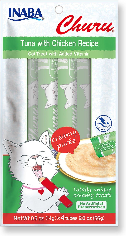 Inaba Churu Treat Grain-Free Tuna with Chicken Puree Lickable Cat Treat, .50-oz