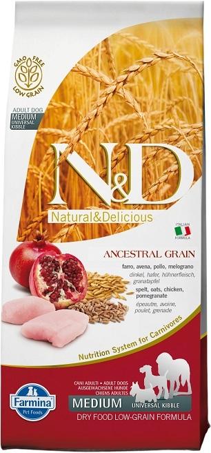 Farmina N&D Ancestral Grain Chicken & Pomegranate Medium & Maxi Adult Dry Dog Food, 26.4-lb bag