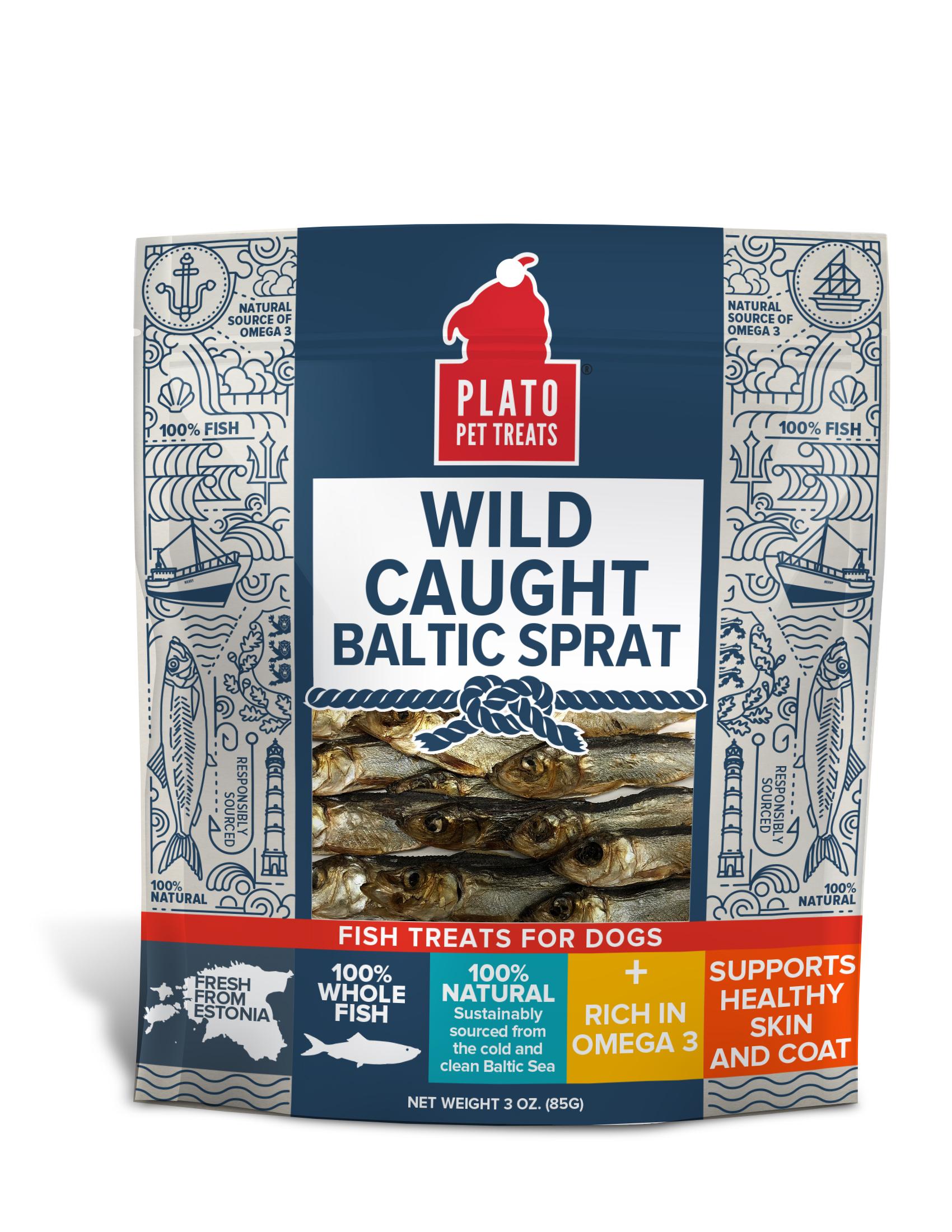 Plato Wild Caught Baltic Sprat Dog Treats, 3-oz bag