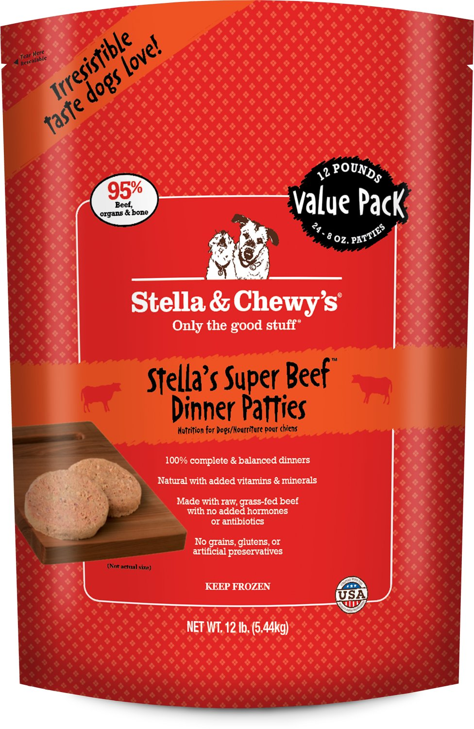 Stella & Chewy's Dog Frozen Super Beef Dinner Patties Frozen Dog Food, 12-lb (Size: 12-lb) Image