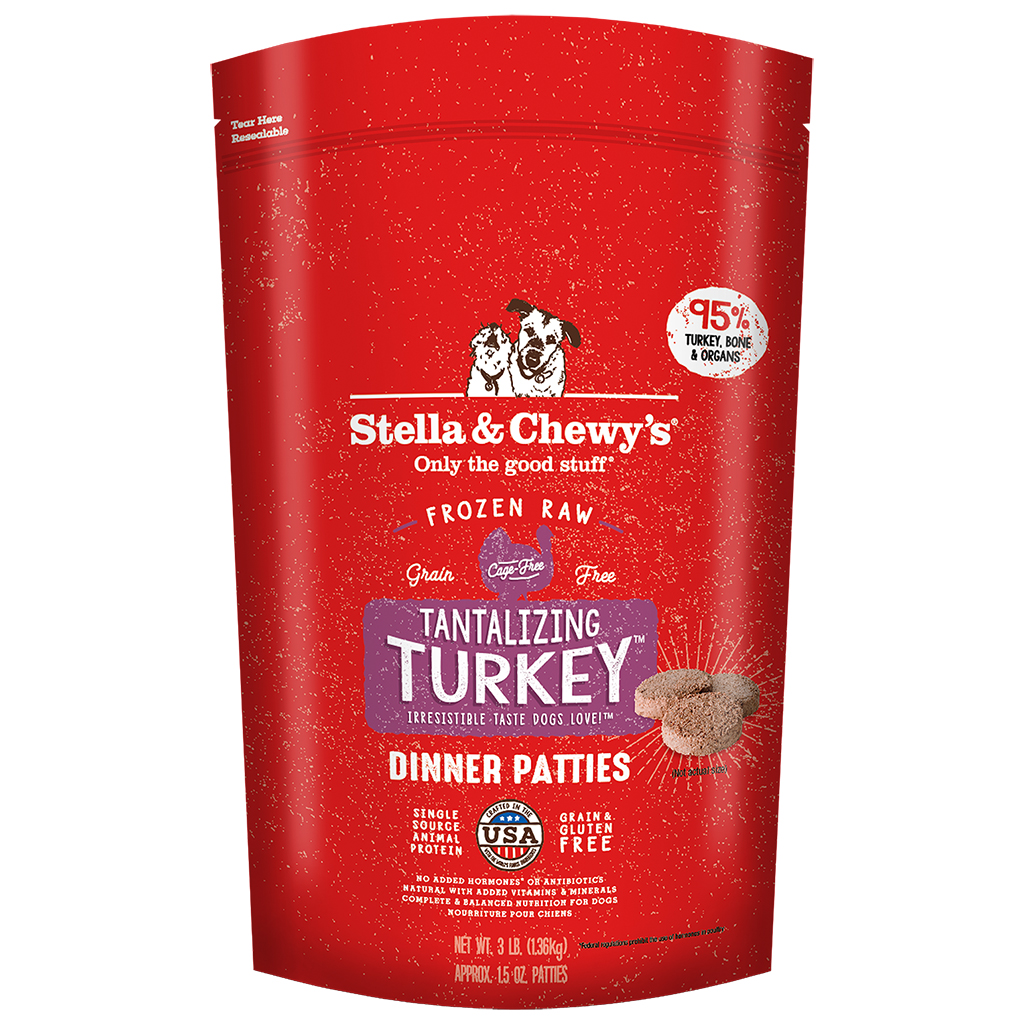 Stella & Chewy's Tantalizing Turkey Dinner Patties Frozen Dog Food, 3-lb