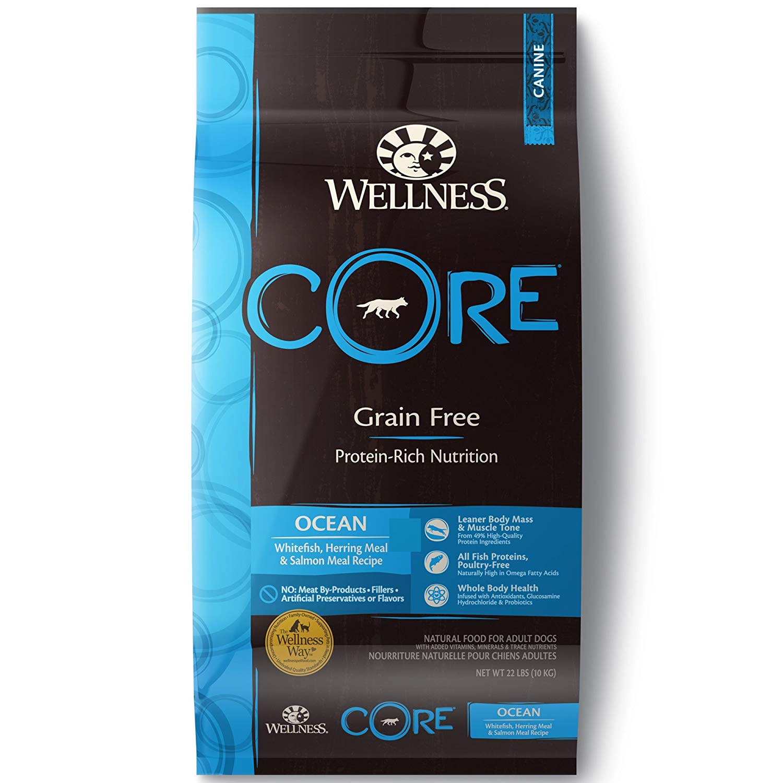 Wellness CORE Grain-Free Ocean Whitefish, Herring & Salmon Recipe Dry Dog Food, 22-lb