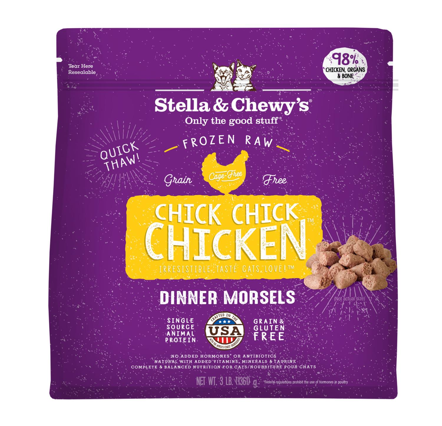 Stella & Chewy's Chick Chick Chicken Dinner Morsels Raw Frozen Cat Food, 3-lb