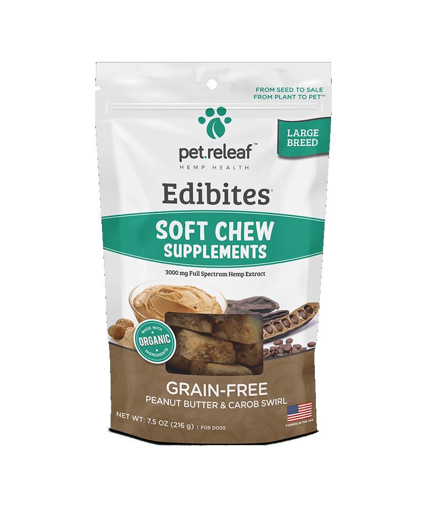 Pet Releaf Edibites Peanut Butter & Carob Soft Chew Large Breed Grain-Free Dog Treats, 7.5-oz