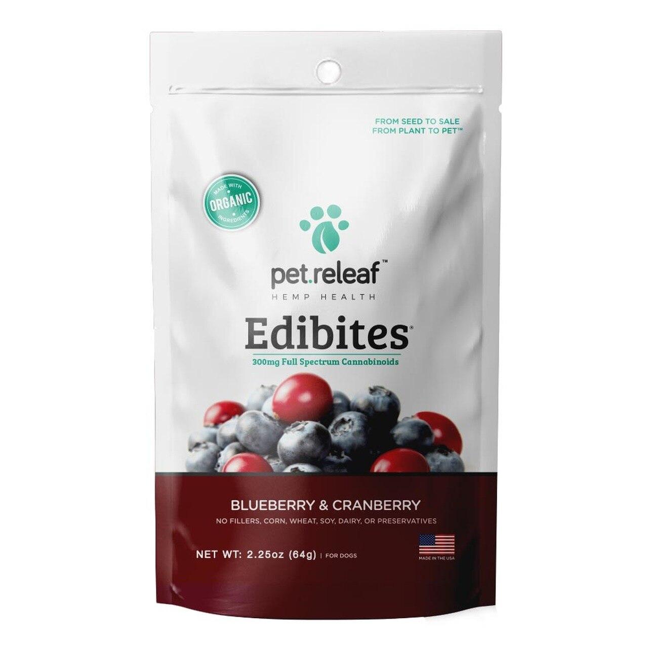 Pet Releaf Edibites Blueberry & Cranberry Dog Treats, 2.25-oz