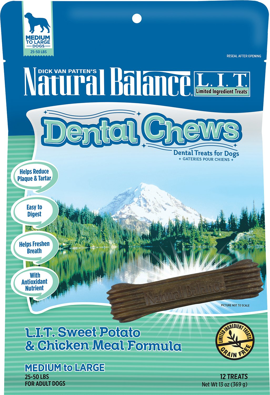 Natural Balance L.I.T. Dental Chews Sweet Potato & Chicken Meal Formula Dog Treats, 13-oz, 22-count