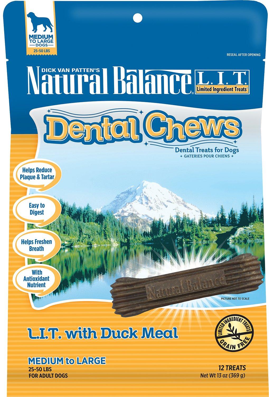 Natural Balance L.I.T. Dental Chews Duck Meal Formula Dog Treats, 13-oz, 12-count