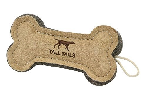 Tall Tails Natural Wool & Leather Bone Dog Toy, 6-in