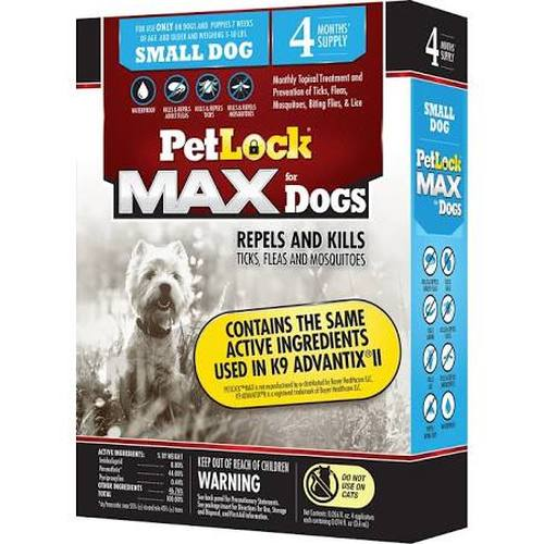 PetLock MAX for Dogs Flea & Tick Small Dog Repellent, 4-count (Size: 4-count) Image